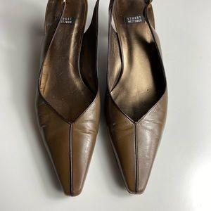 Stuart Weitzman Brown Leather Pointed Heels, 8.5